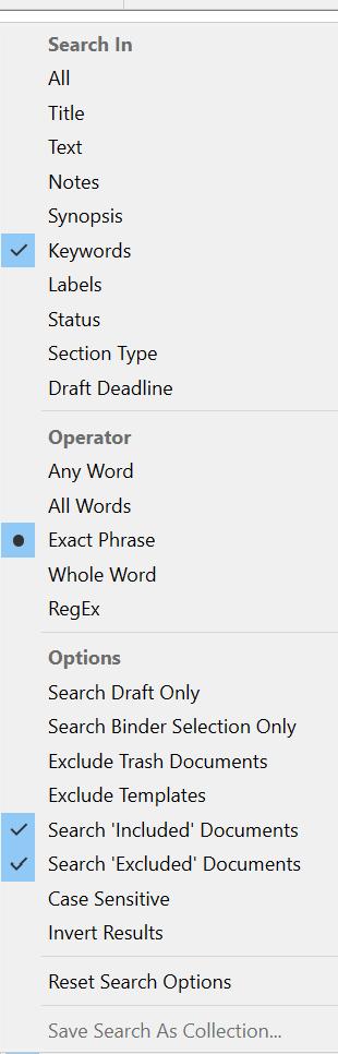 Screenshot of Search Window
